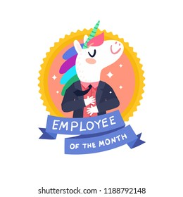 Employee of the month certificate concept. Happy cute unicorn office worker character. Vector colorful illustration in flat design style