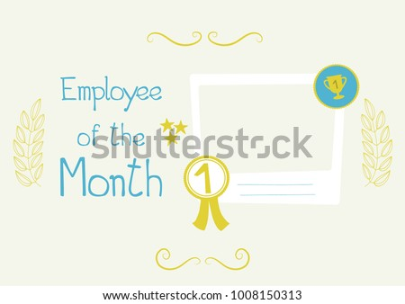 employee month certificate funny colorful happy stock vector