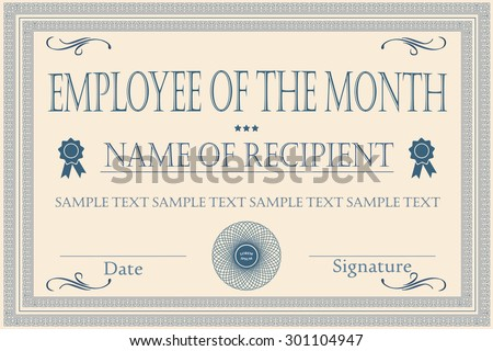 employee month certificate illustration vector stock vector royalty