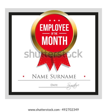 Employee Month Certificate Template Stock Vector Royalty Free