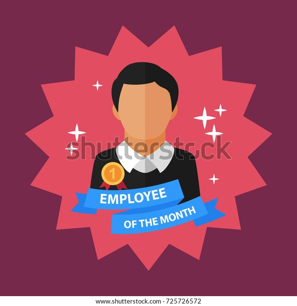 Employee Month Flat Concept Vector Illustration Stock