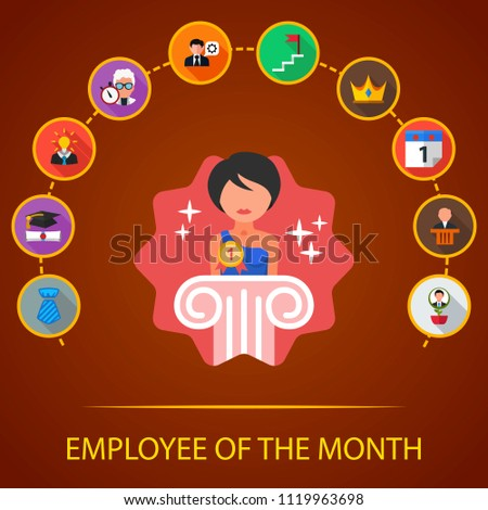 Employee Of The Month Flat Icons Concept Vector Illustration Element Template For Design