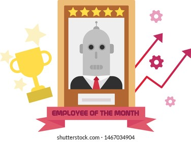 Employee of the month flat style illustration