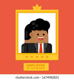Employee of the Month Golden Rectangular Award Frame Design with Crown and Stars with African Businessman, Office Worker Smiling Portrait Inside. Isolated Stock Flat Cartoon Vector Illustration.