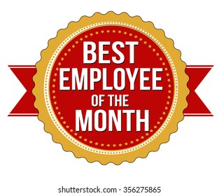 Employee of the month label or stamp on white background, vector illustration
