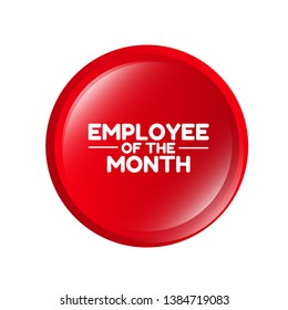 Employee of the month red label. red banner with white text