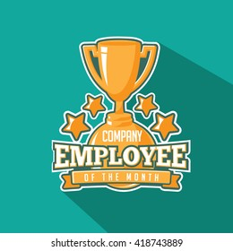 Employee of the month trophy flat design. EPS 10 vector