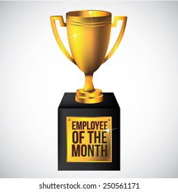 Employee of the month trophy isolated on white EPS 10 vector royalty free stock illustration perfect for promotion, ads, marketing, poster, motivation, awards, meetings, infographic, trade show