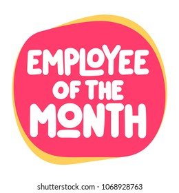 Employee of the month. Vector icon, badge illustration on white background.