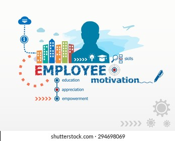 Employee motivation concept and business man. Flat design illustration for business, consulting, finance, management, career.