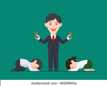 Employee pay respect to Businessman holding a pack of money, Greed Illustration, Power of Money concept