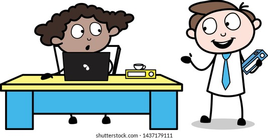 Employee Presenting a Plan in front of His Boss - Office Businessman Employee Cartoon Vector Illustration