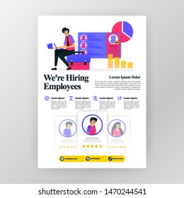 employee recruitment poster, we're hiring job seekers ads with flat cartoon illustration. flayer business pamphlet brochure magazine cover design layout space for  vector print template in A4 size