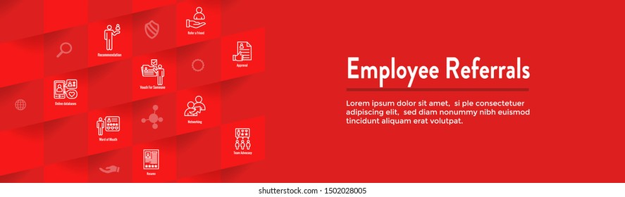 Employee Referrals Icon Set and Web Header Banner