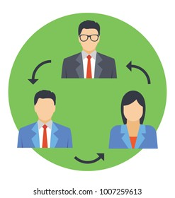 Employee replacement concept, flat icon employee turnover