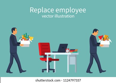 Employee Replacement. Turnover workers. Vector illustration flat design. Isolated on white background. Business people. A person goes to a new workplace. Free vacancy.