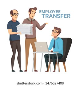 Employee Replacement. Worker Turnover stock illustration in flat cartoon style.  Boss or manager transfer of employee to another workplace, job rotation. Unfair dismissal in business.