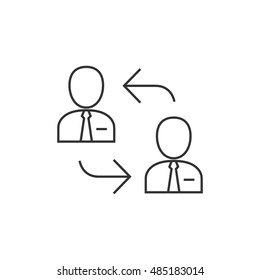 Employee rotation icon in thin outline style. Position human resources