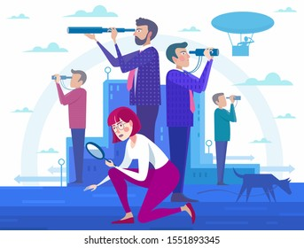 Employee search and hire - cartoon people standing and lookig for a job, recruitment agency, team work. Flat design business people concept.