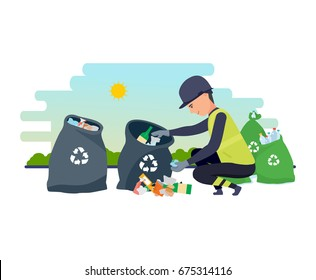 Employee of service collect garbage, sorts by bags and by type of garbage, for further processing of household waste. Cleaning city. Household waste, recycling. Illustration isolated in cartoon style.