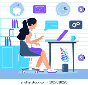 Employee is sitting at the table. Home office interior is shown. Burnout in remote work, emotional collapse concept vector. Young woman is freelancer. Brainstorming is out.