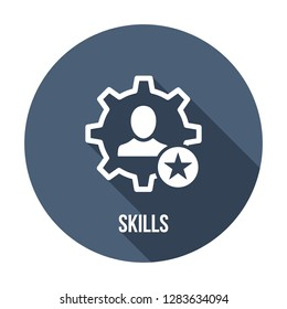 Employee skills icon. Skills icon with star sign. Skills icon and best, favorite, rating symbol. Vector icon
