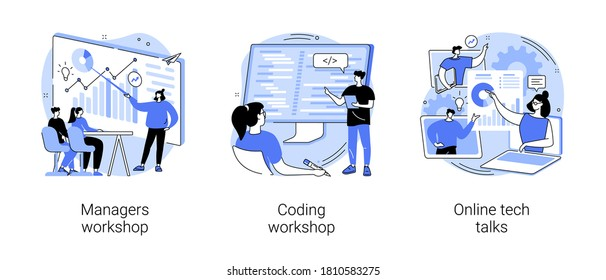 Employee skills training abstract concept vector illustration set. Managers and coding workshops, online tech talks, write code, software development, presentation, web session abstract metaphor.