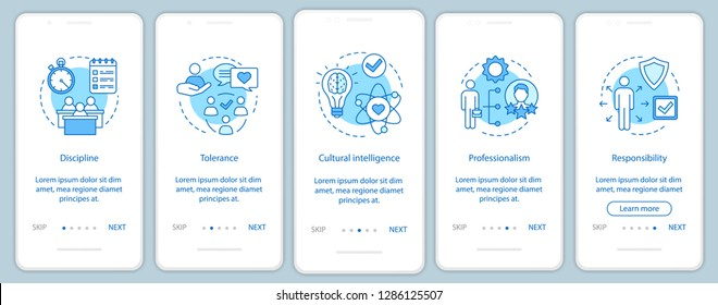 Employee soft skills onboarding mobile app page screen vector template. Baseline qualities, abilities walkthrough website steps. Responsibility, discipline, tolerance. UX, UI, GUI smartphone interface