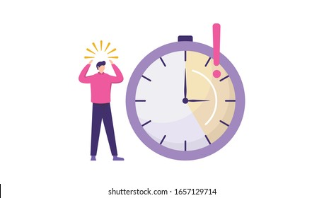 an employee was surprised because the deadline was near. can be used for planning schedules, deadline concepts, productivity and time management concepts. stopwatch icon. flat design illustration