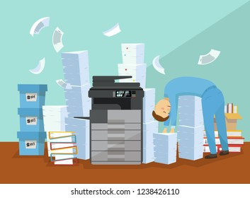 Employee is tired of paperwork and copying documents. Professional office copier, multifunction scanner printer printing paper with pile of documents, stack of papers. Flat cartoon vector illustration