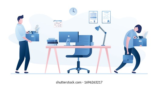 Employee Turnover. Staff replacement. Modern workplace in office. Dismissal and employment process in company. Male and female office workers. Trendy flat vector illustration