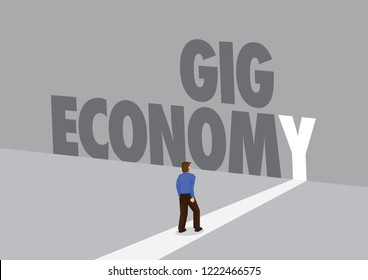 Employee walking towards a light path with the text gig economy. Business concept of freelancing, flexible working or overcoming challenge. Vector illustration.