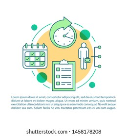 Employee work schedule and shifts article page vector template. Part-time employment. Brochure design element with linear icons and text boxes. Print design. Concept illustrations with text space