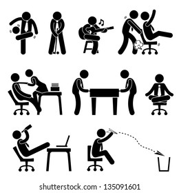 Employee Worker Staff Office Workplace Having Fun Playing Stick Figure Pictogram Icon