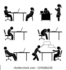Employee works, sleeps, conducts the interview. Worker works in the workplace in the office. Stick figure pictogram people, office life. Computer work illustration.
