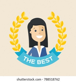 Employee of the year award. Best award wreath for business. Woman brunette portrait. Vector, illustration, flat