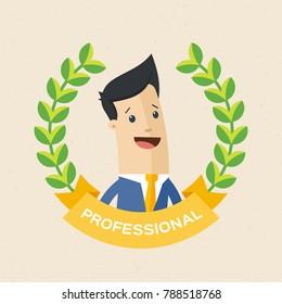 Employee of the year award. Best award wreath for business. Man brunette portrait. Vector, illustration, flat
