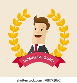 Employee of the year award. Best award wreath for business. Man portrait. Vector, illustration, flat