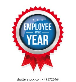 Employee of the year badge with ribbon