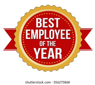 Employee of the year label or stamp on white background, vector illustration