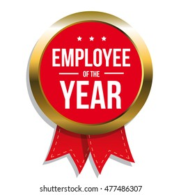 Employee of the year label or stamp with red ribbon
