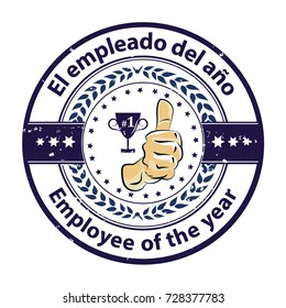 Employee of the year (Spanish language text: Empleado del ano) - dark blue grunge stamp / sticker with champions cup. Print colors used