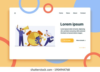 Employees with briefcases running. Alarm clock, hurry, manager shouting at megaphone flat vector illustration. Time management, deadline concept for banner, website design or landing web page