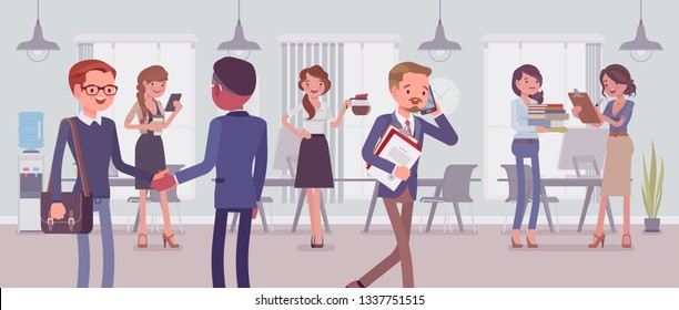 Employees busy in the office. Group of business people working in a room, businessmen and businesswomen meet colleagues, perform professional activity in positive corporate mood. Vector illustration