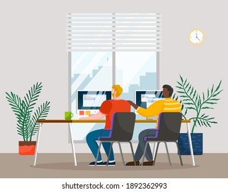 Employees are communicating and working together. Teamwork and brainstorming in the office. Staff works with papers and study data on a computer. Male characters collaborate in business and finance