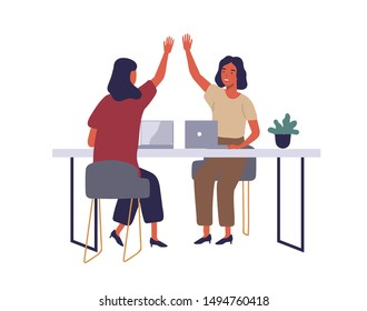 Employees in coworking open office flat vector illustration. Women giving high five at workplace cartoon characters. Corporate workers using laptops. Happy smiling female coworkers isolated clipart.