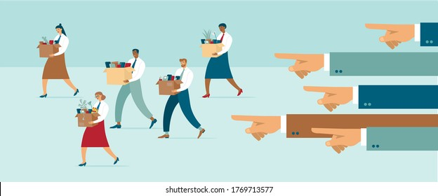 Employees getfired due corona crisis. Boss points out dismissed managers. Employee job reduction, unemployment, crisis caused by coronavirus COVID-19 outbreak. Flat Vector illustration