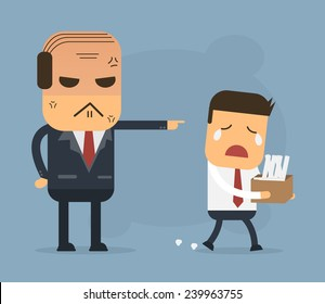 Employees getting fired by boss, Vector cartoon concept abstract business
