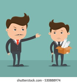 Employees getting fired by boss - Vector illustration