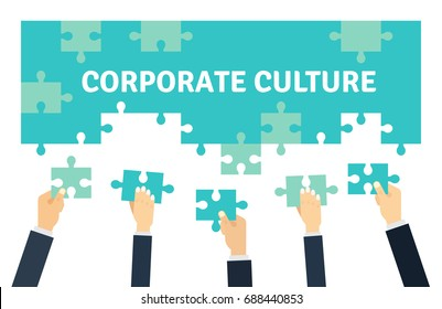 Employees holding and connecting puzzle pieces together. Corporate Culture and Teamwork Vector graphic design illustration n flat style.
